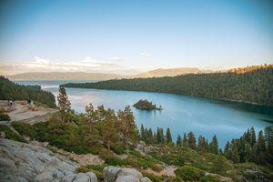 View of the Lake Tahoe Basin at dusk