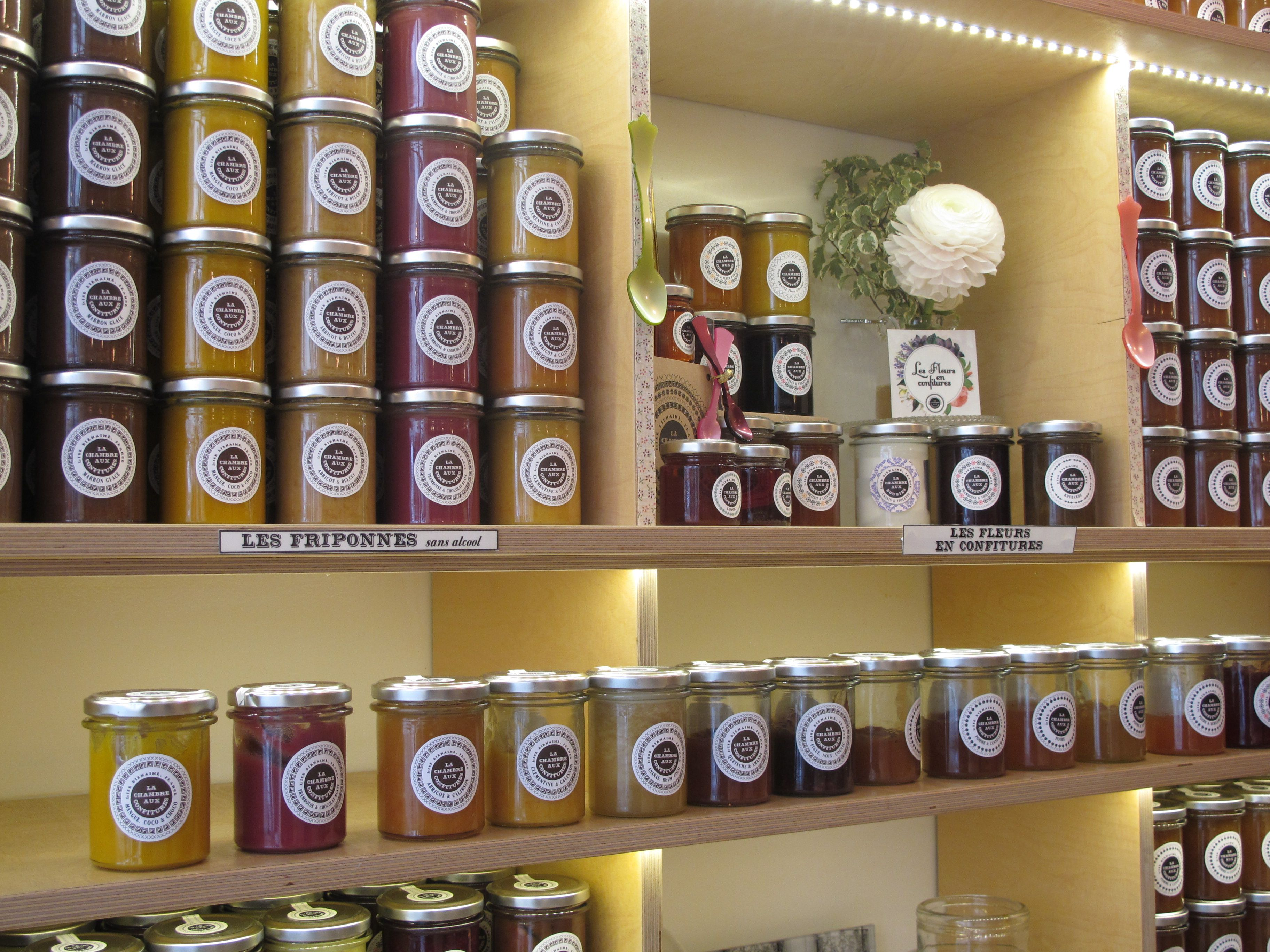A dizzying array of artisan jams at La chambre aux confitures in Paris