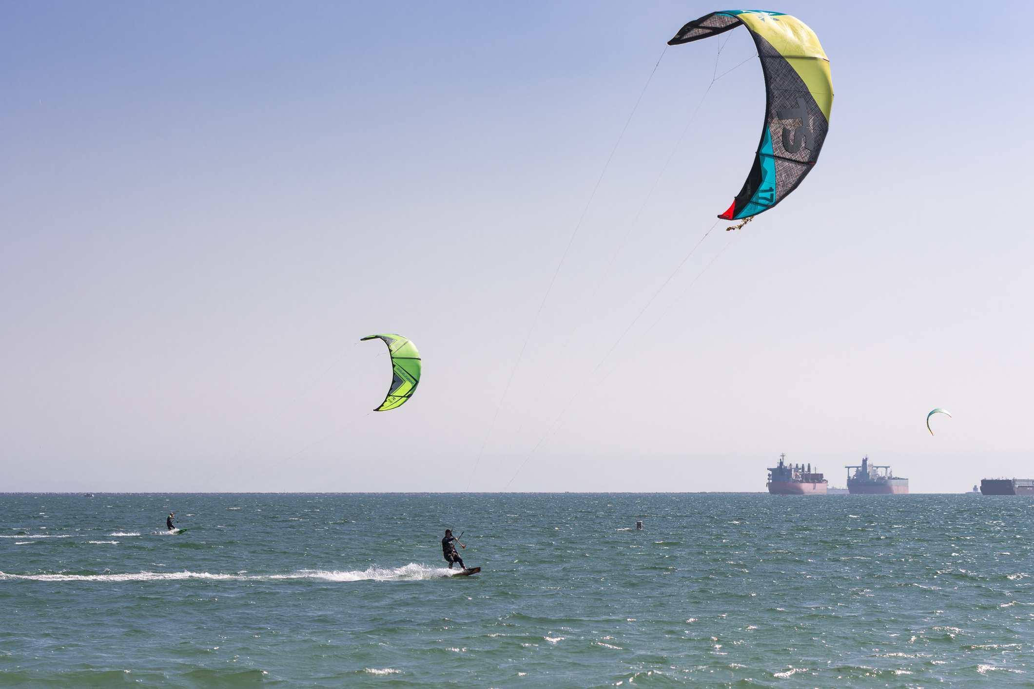 People kiteboarding in Long Beach
