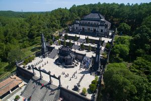 Aerial view of Khai Dinh's Tomb in Hue, Vietnam