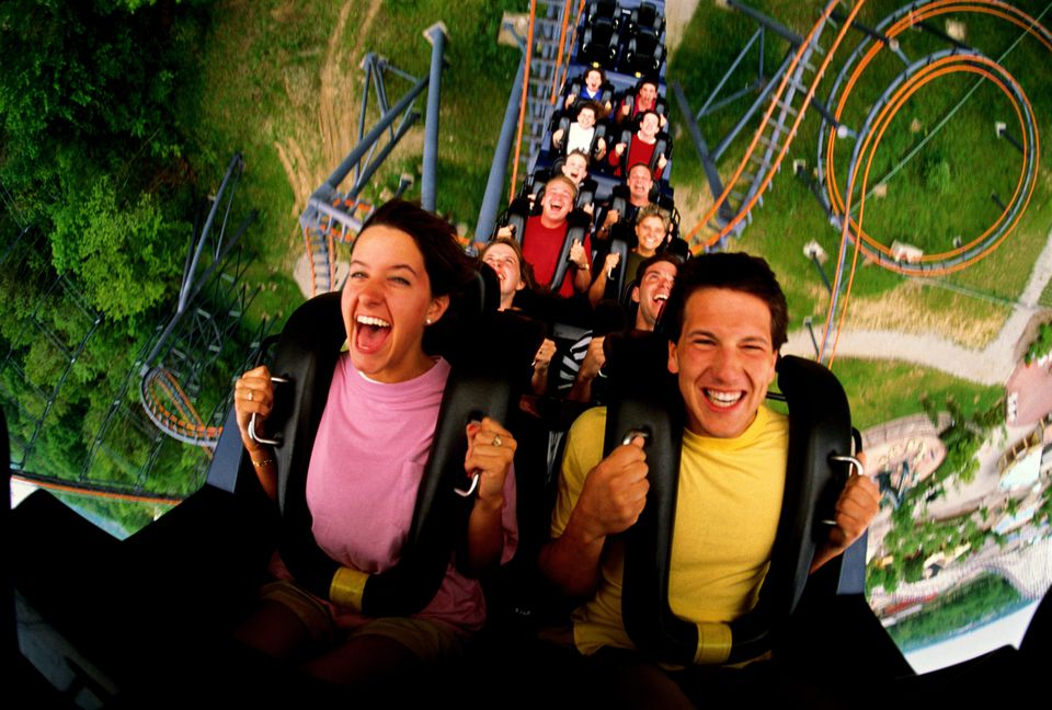 couple on a rollercoaster ride