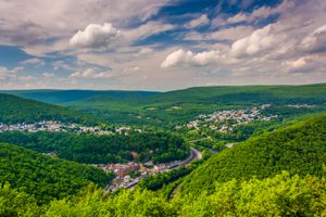 View of the green Lehigh Valley, Pennsylvania with clouds