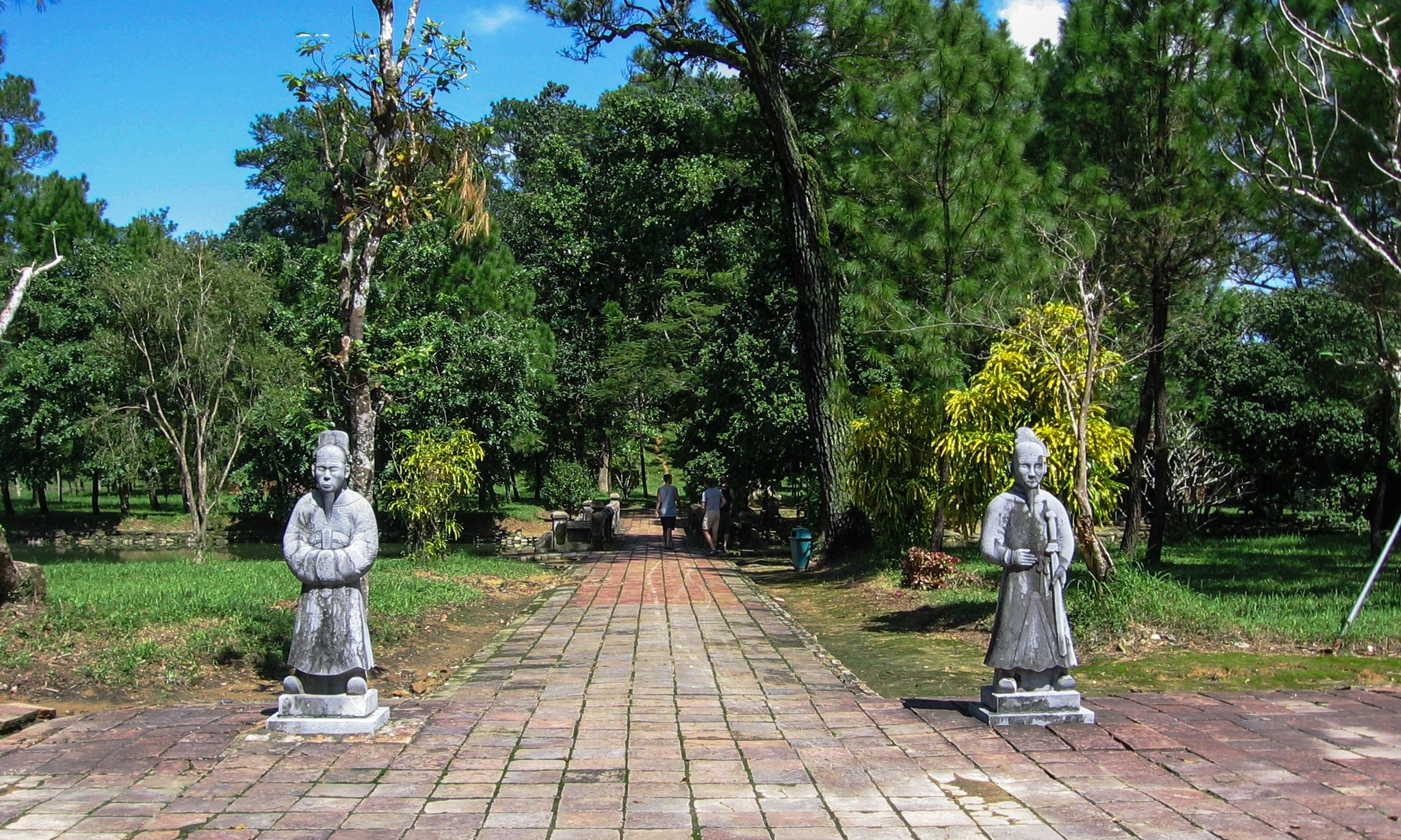 Courtiers flanking footpath in Minh Mang Royal Tomb, Hue, Vietnam