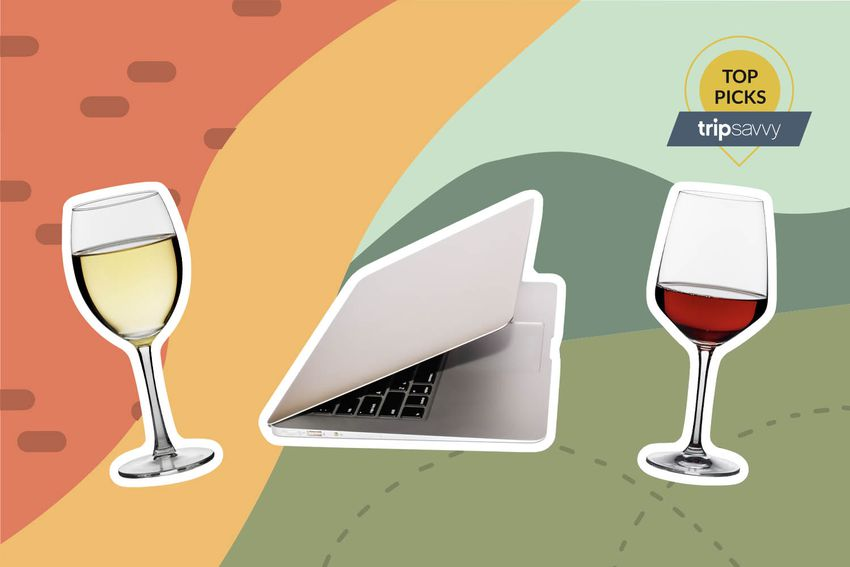 Photo composite of a white wine glass, red wine glass, and laptop computer