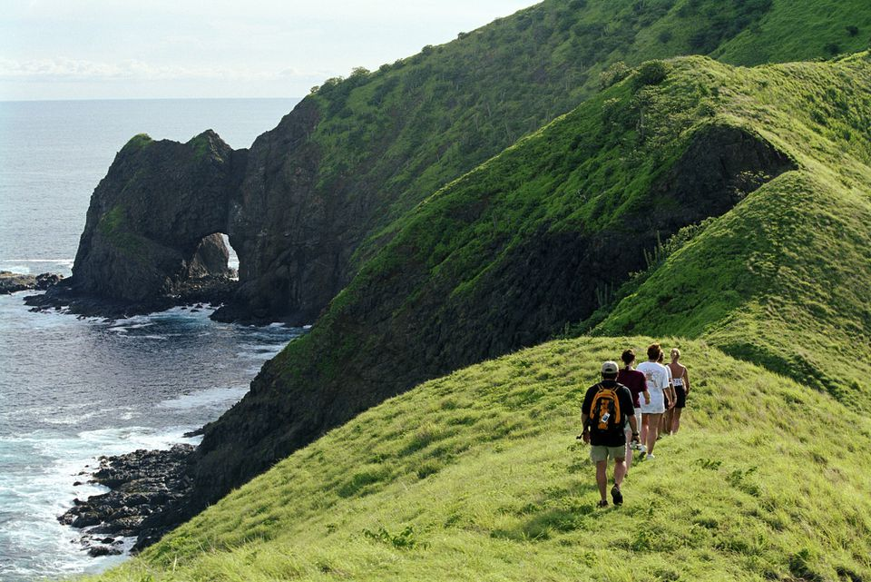 Four people hiking lush green mountain near water