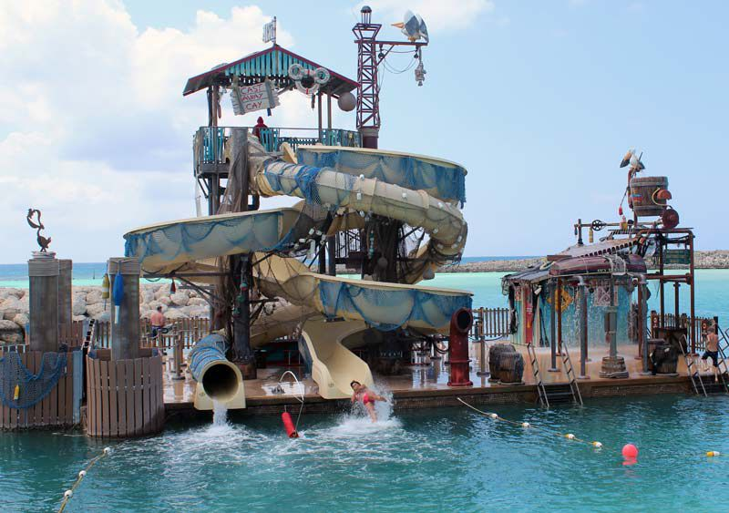 Water slides on Disney Cruise Line's Castaway Cay