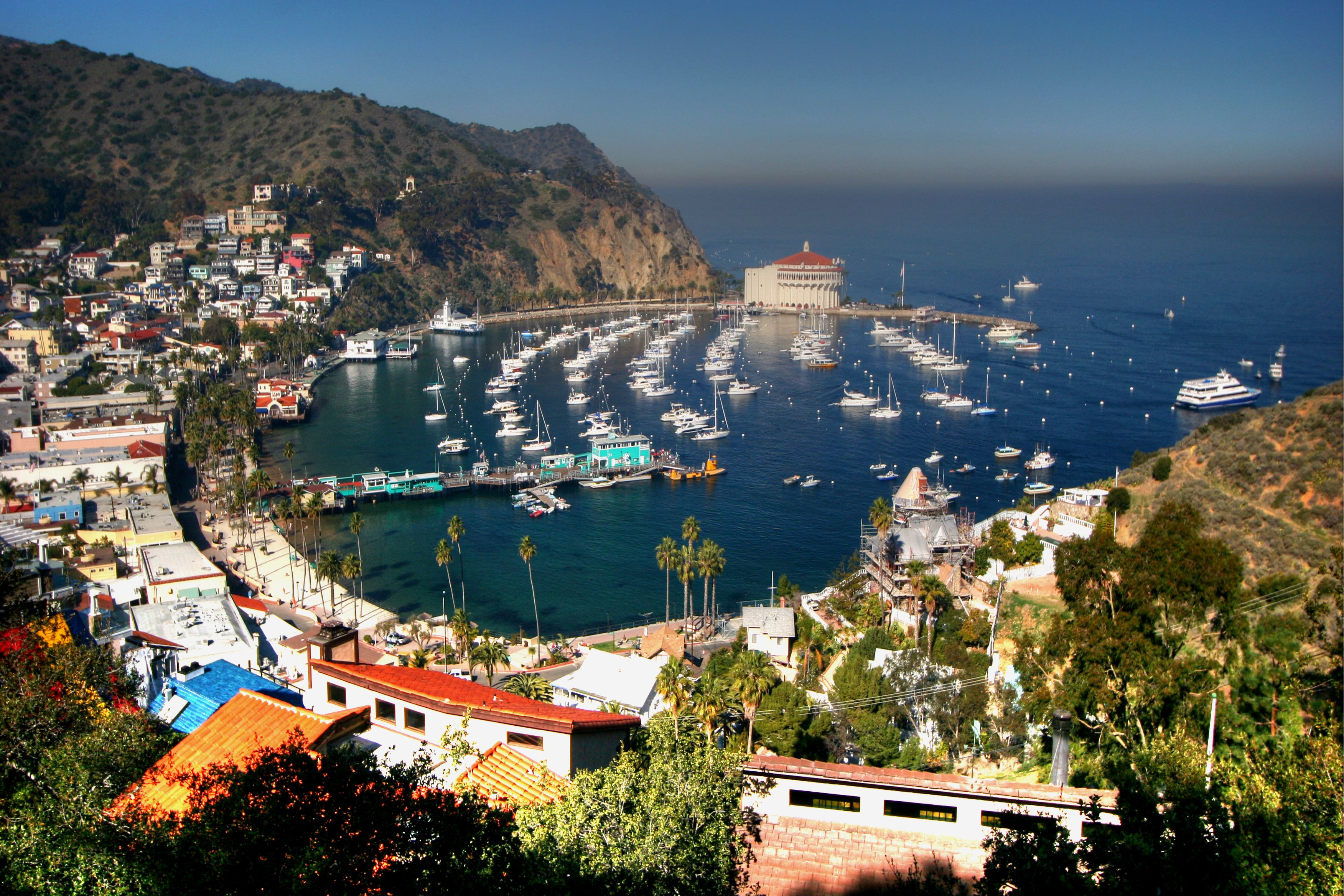 View of Avalon village, Catalina island, about 1 hour away from the California coast at Long Beach by catamaran.