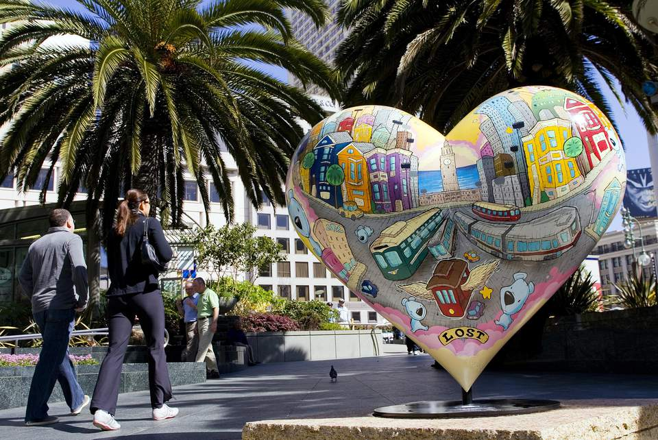 Heart Sculpture in Union Square San Francisco