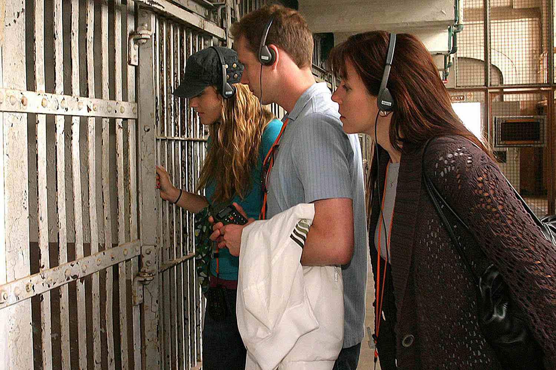 Taking the Audio Tour at Alcatraz