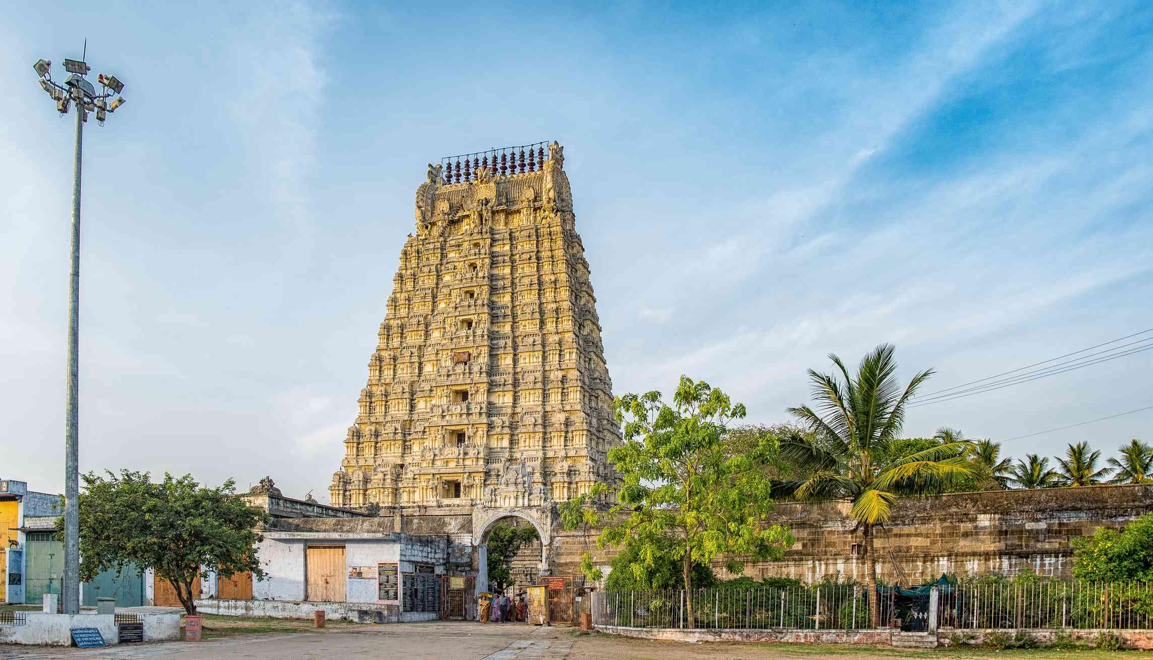Pale yellow towers of Ekambareswarar Temple, dedicated to Lord Shiva at Kanchipuram, near Chennai