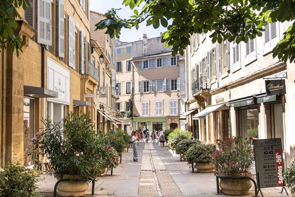 Quaint quiet street in Aix-en-Provence