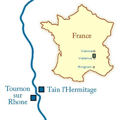 Tournon sur Rhone map, Rhone map, hermitage map