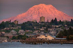 Mount Rainier over the city of Tacoma at sunset
