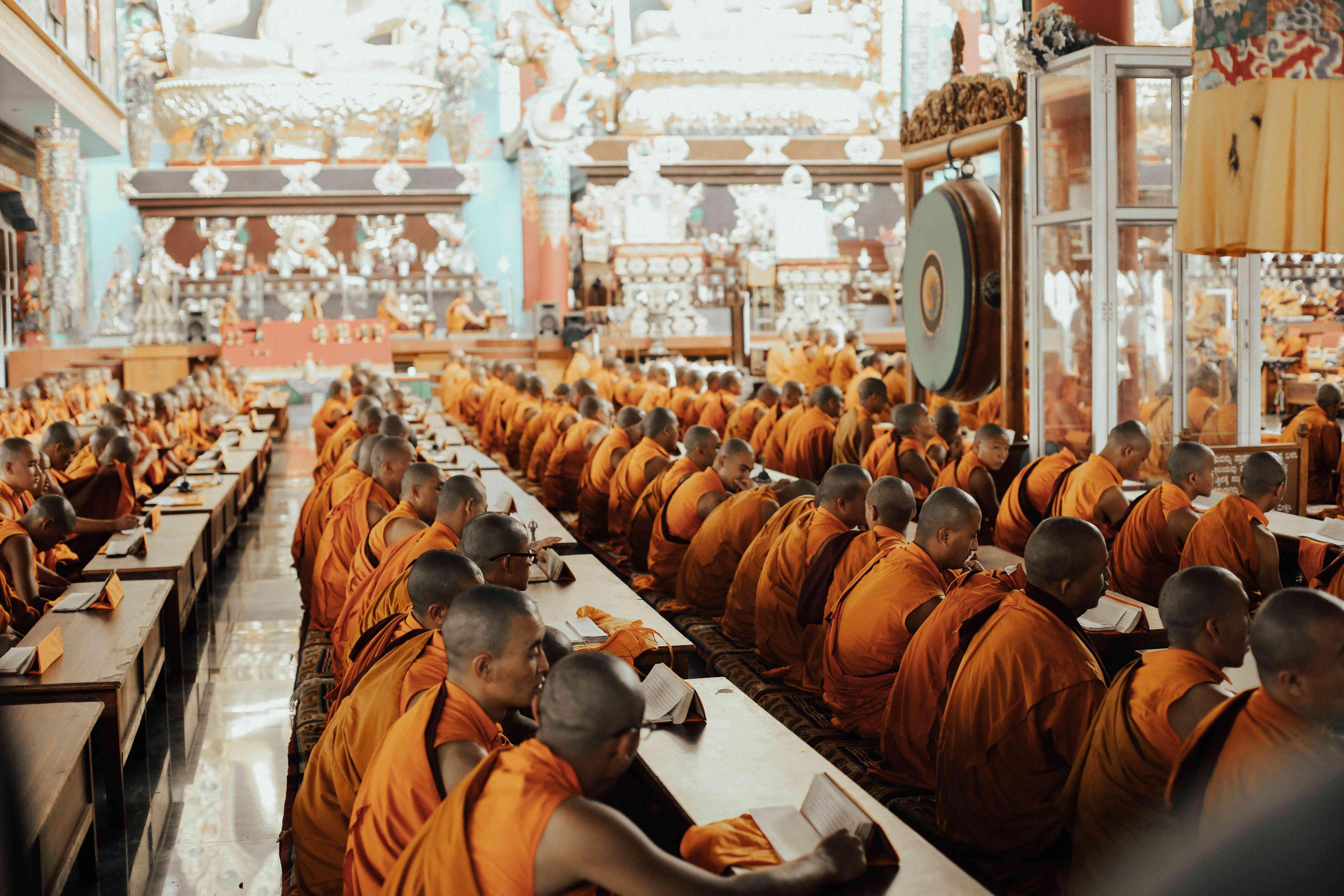 Monks in Namdroling Monastery