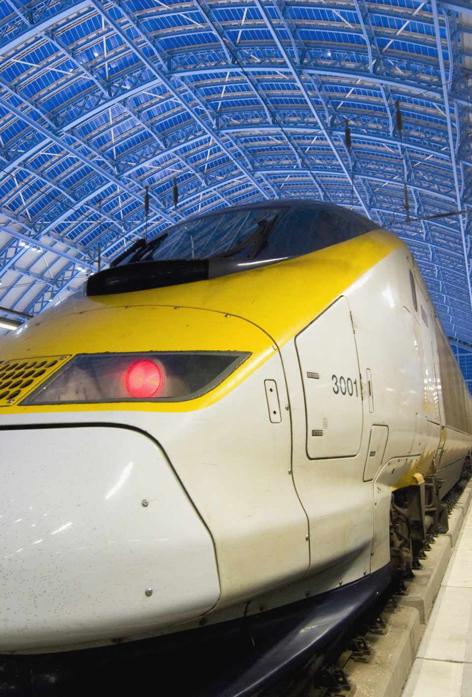 Eurostar at dusk in St Pancras Station London
