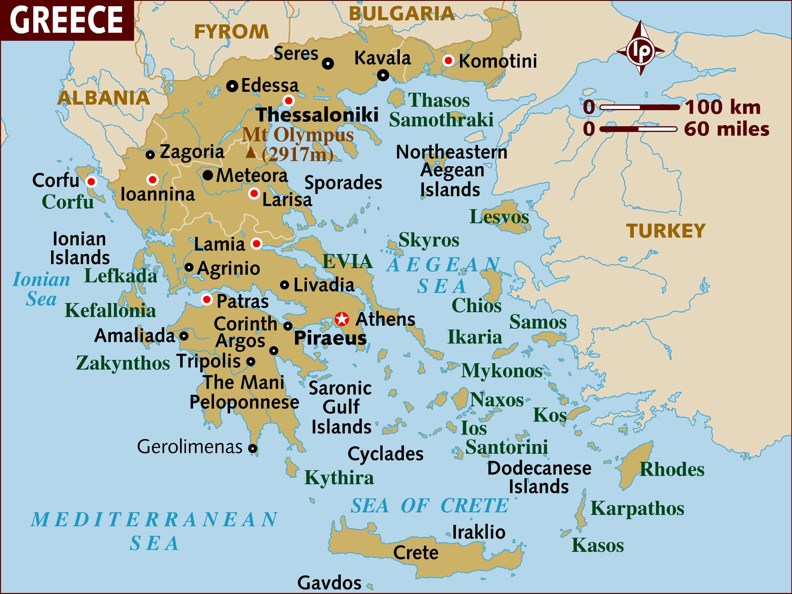 Map Of Athens Greece Map of Greece   a Basic Map of Greece and the Greek Isles