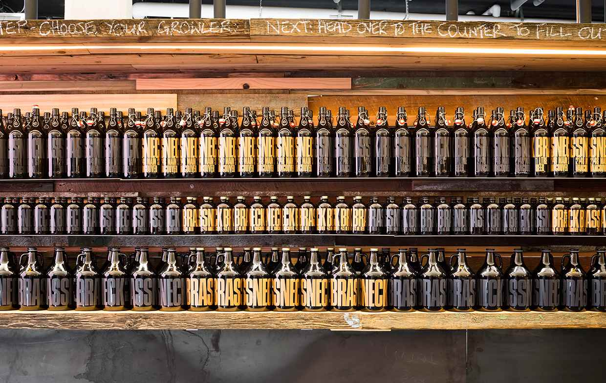 Growlers for sale at Brassneck Brewery