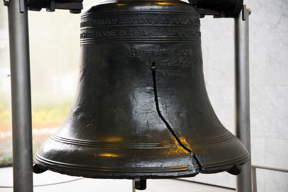 Close up of the liberty bell with the crack showing