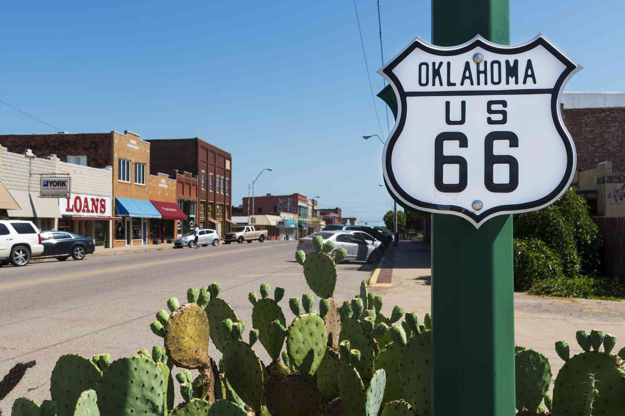 Oklahoma Route 66 Sign along the historic Route 66 in the State of Oklahoma, USA.