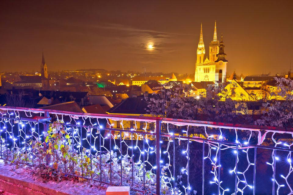 Zagreb cathedral and cityscape evening advent view, famous landmarks of Croatian capital city