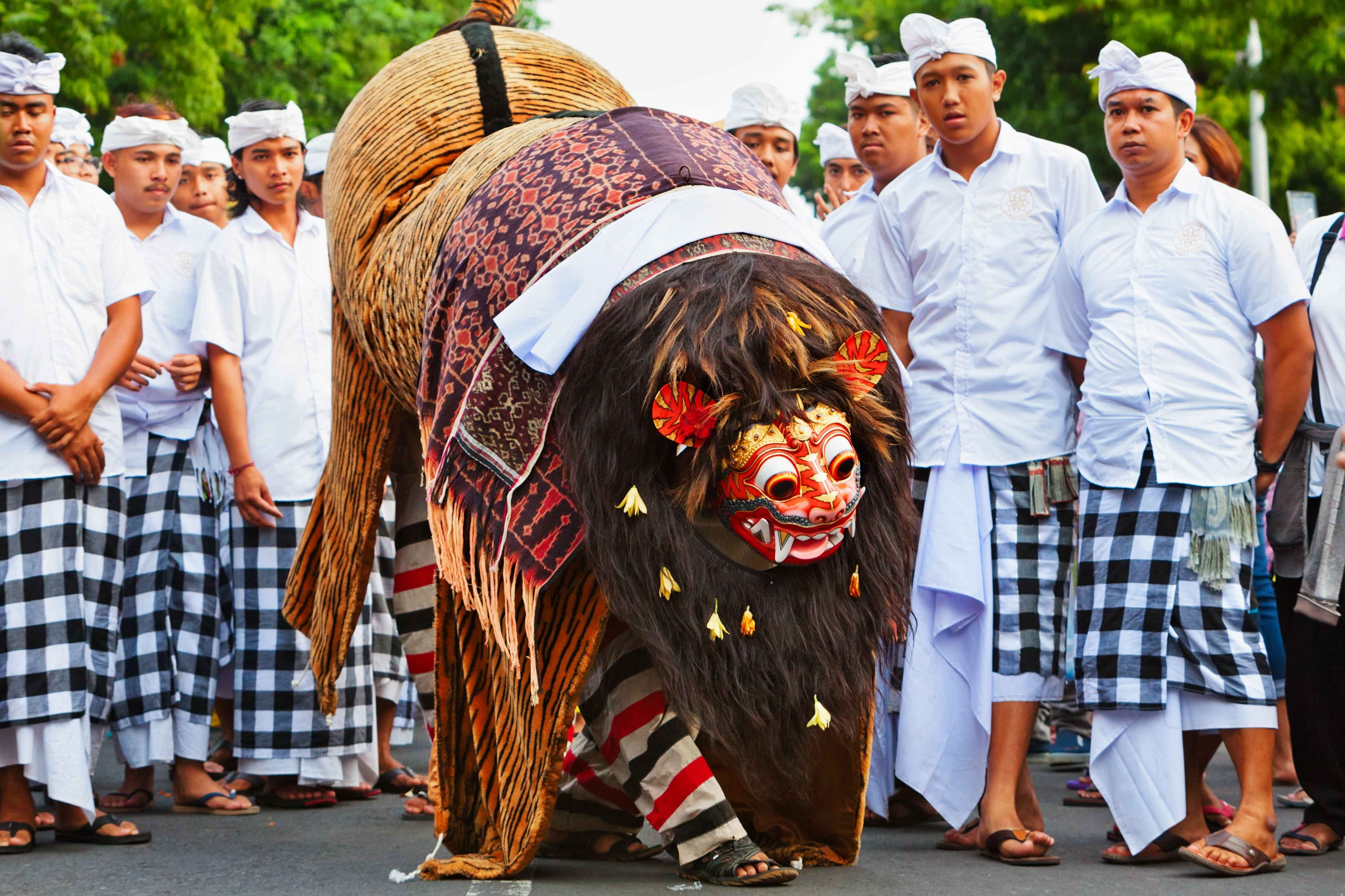 Ngelawang ritual in Bali, Indonesia - featuring a Barong dance