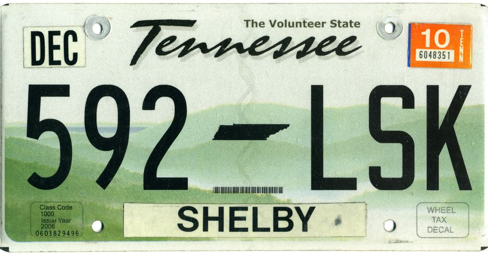 Example of a 2010 Tennessee license plate.