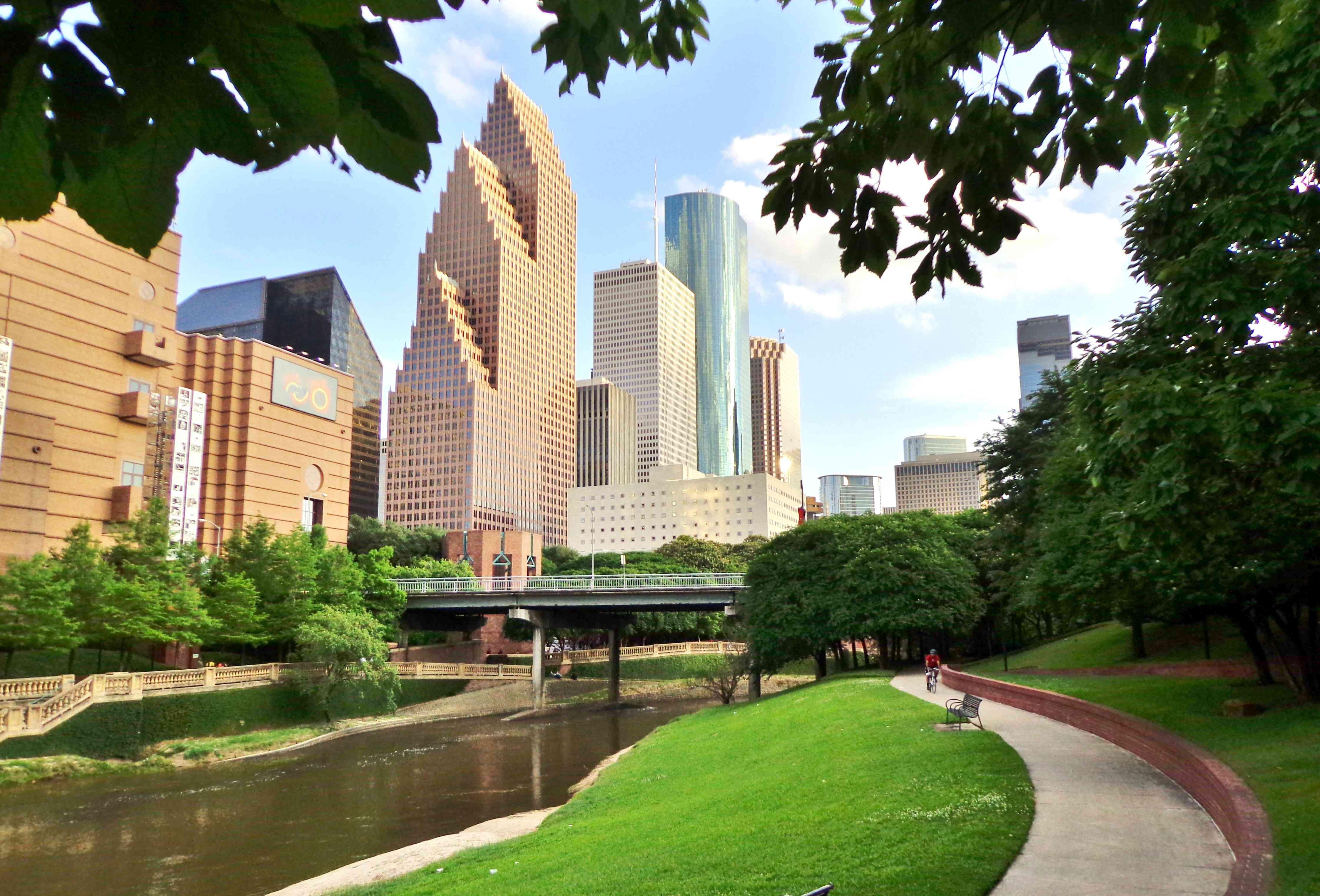 Path in Buffalo Bayou Park leading to downtown Houston, Texas, USA