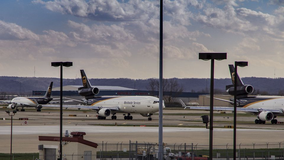 United Parcel Service cargo aircraft prepare to depart Louisville