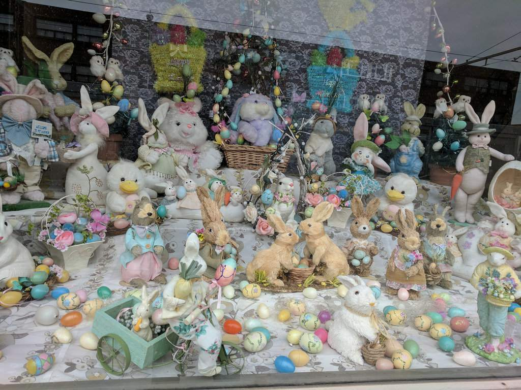 Storefront in Toronto decorated for Easter
