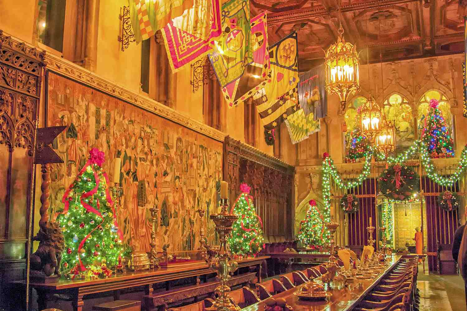 Hearst Castle Dining Room Decorated for Christmas