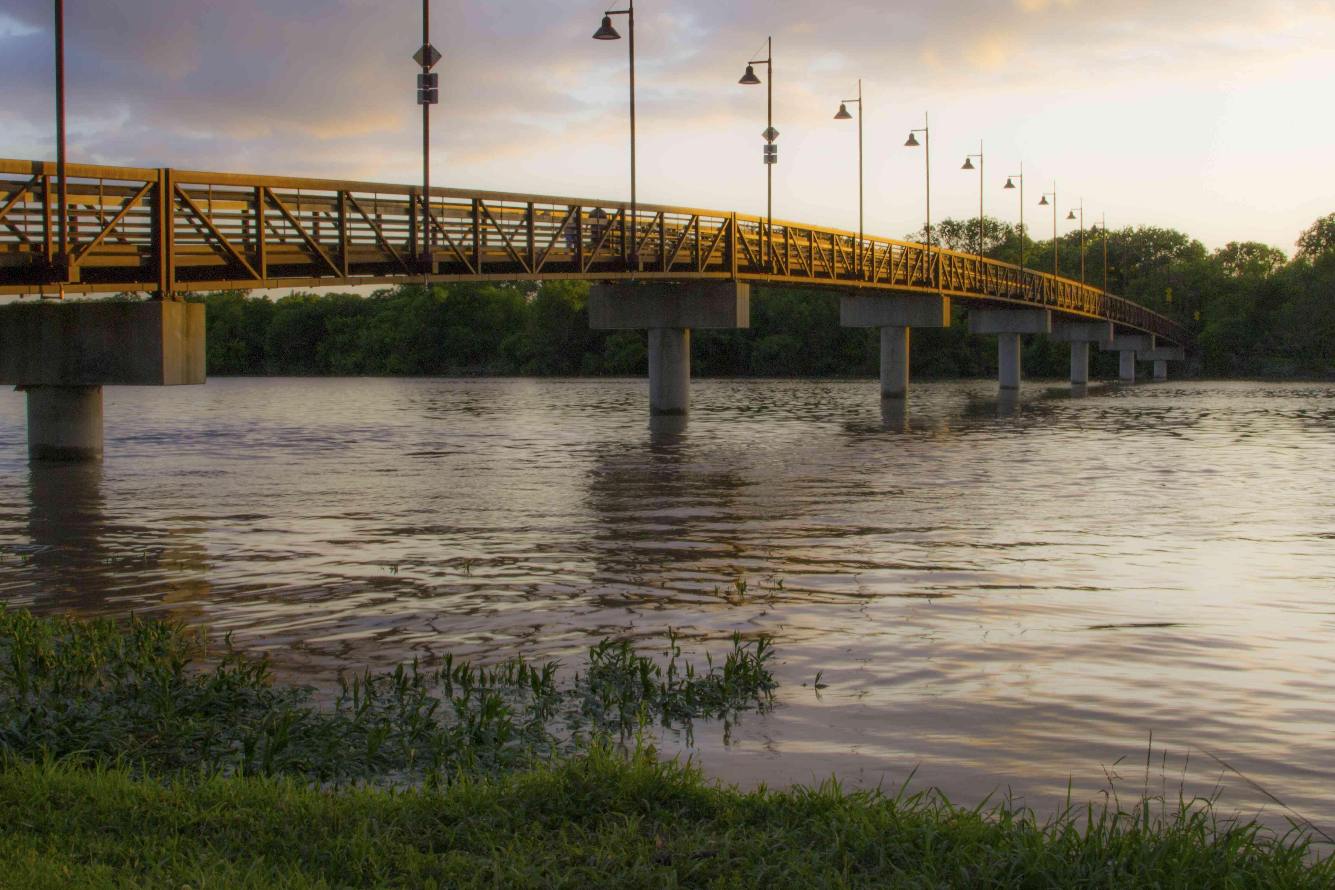 Bridge at White Rock Lake in Dallas, Texas at sunset.
