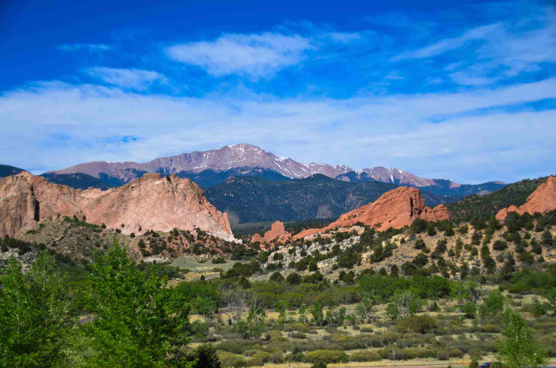 Garden of the Gods with Pikes Peak