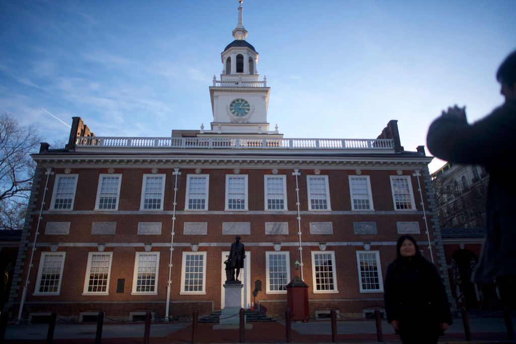 Philadelphia's Independence Hall in the early evening
