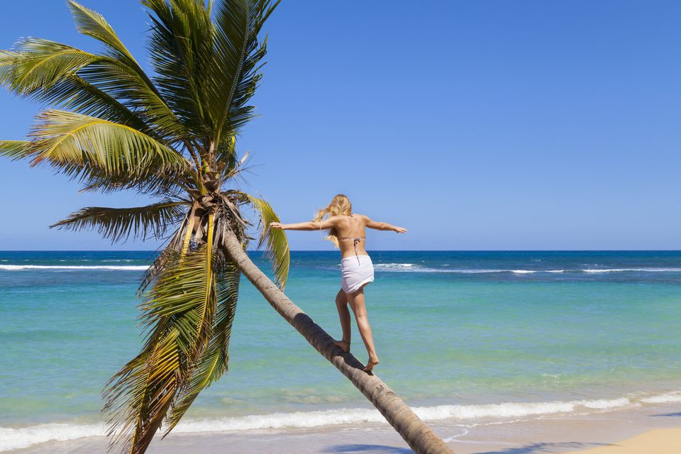 Dominican Republic, Young woman climbing palm tree at tropical beach