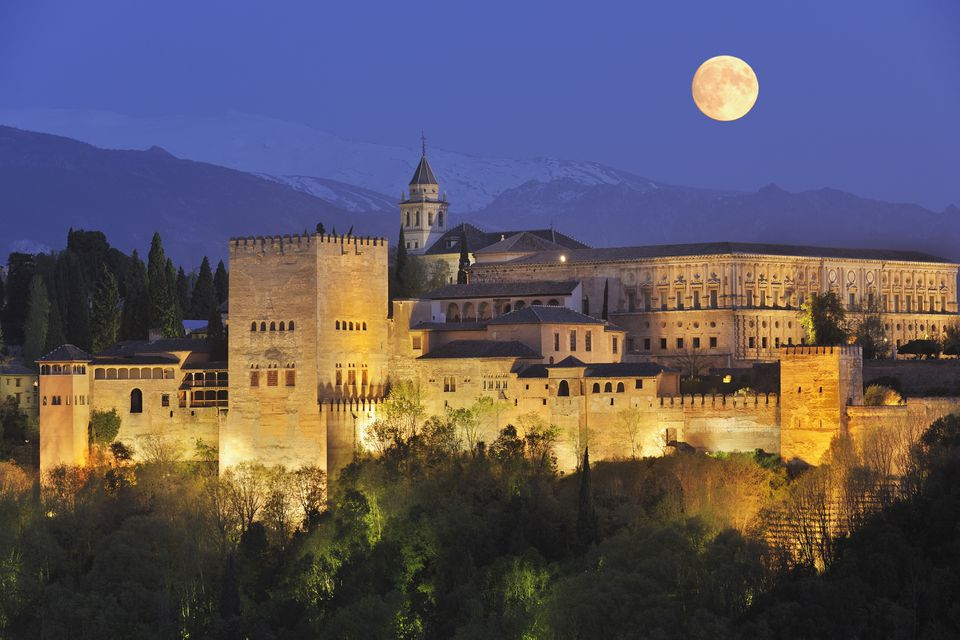 Spain, Andalusia, Granada Province, View of Alhambra Palace