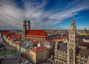 Classic Munich view from 'Alter Peter' to 'Marienplatz' and 'Frauenkirche'
