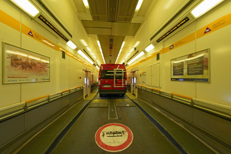 Car in shuttle wagon, Eurotunnel Le Shuttle, Folkestone to Calais, Great Britain