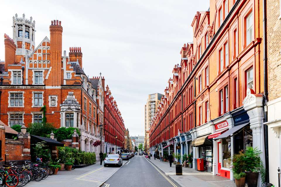Chiltern Street in Marylebone district, London, England, UK