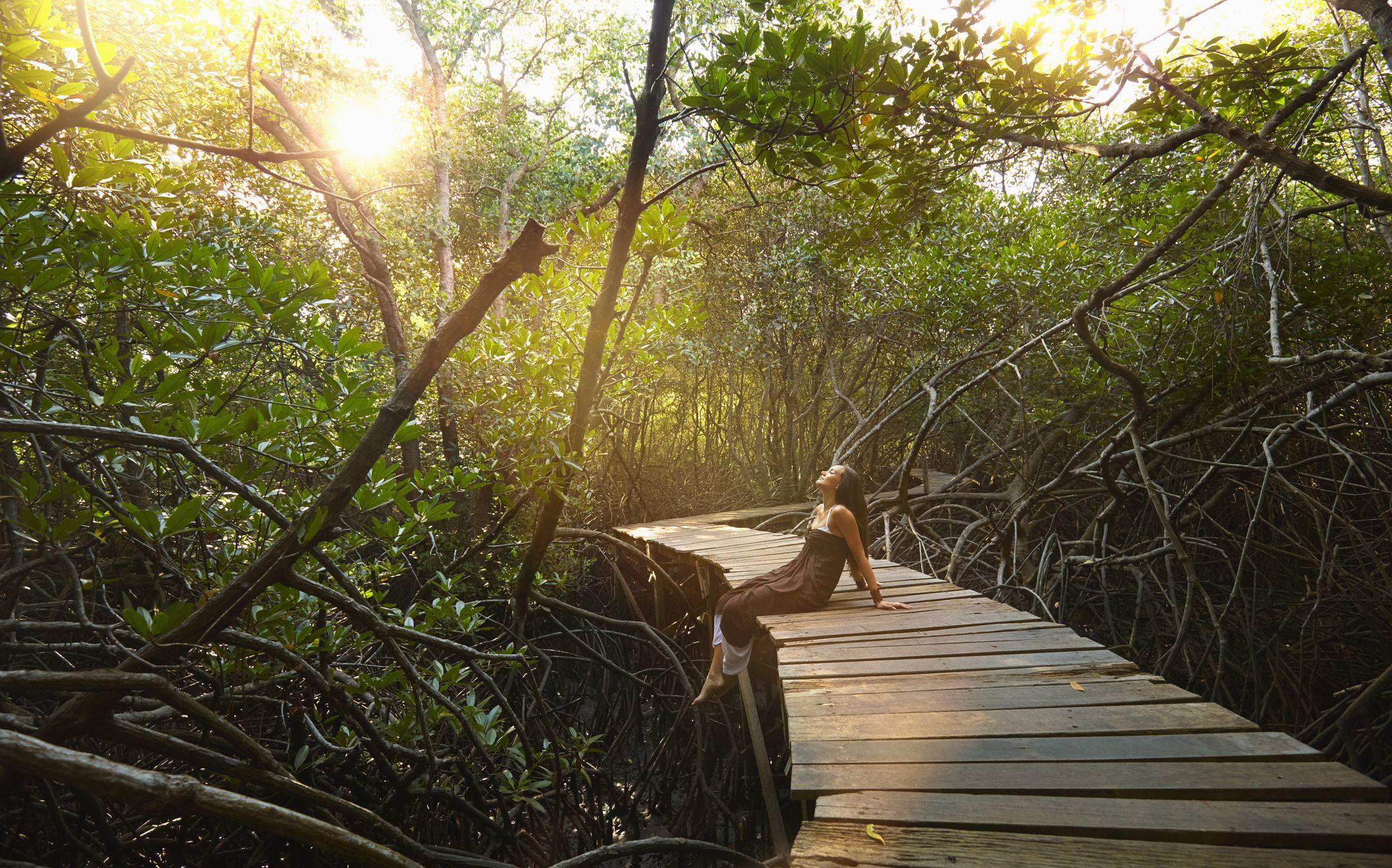 Pacific Islander woman sitting on walkway in jungle