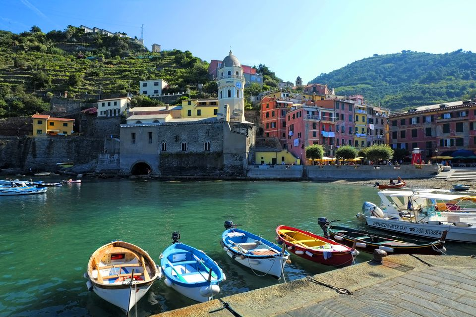 Small boats moored at Vernazza