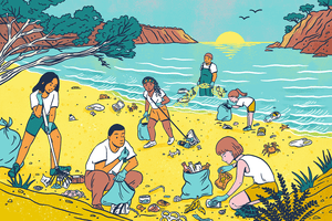 Illustration of people cleaning up a beach