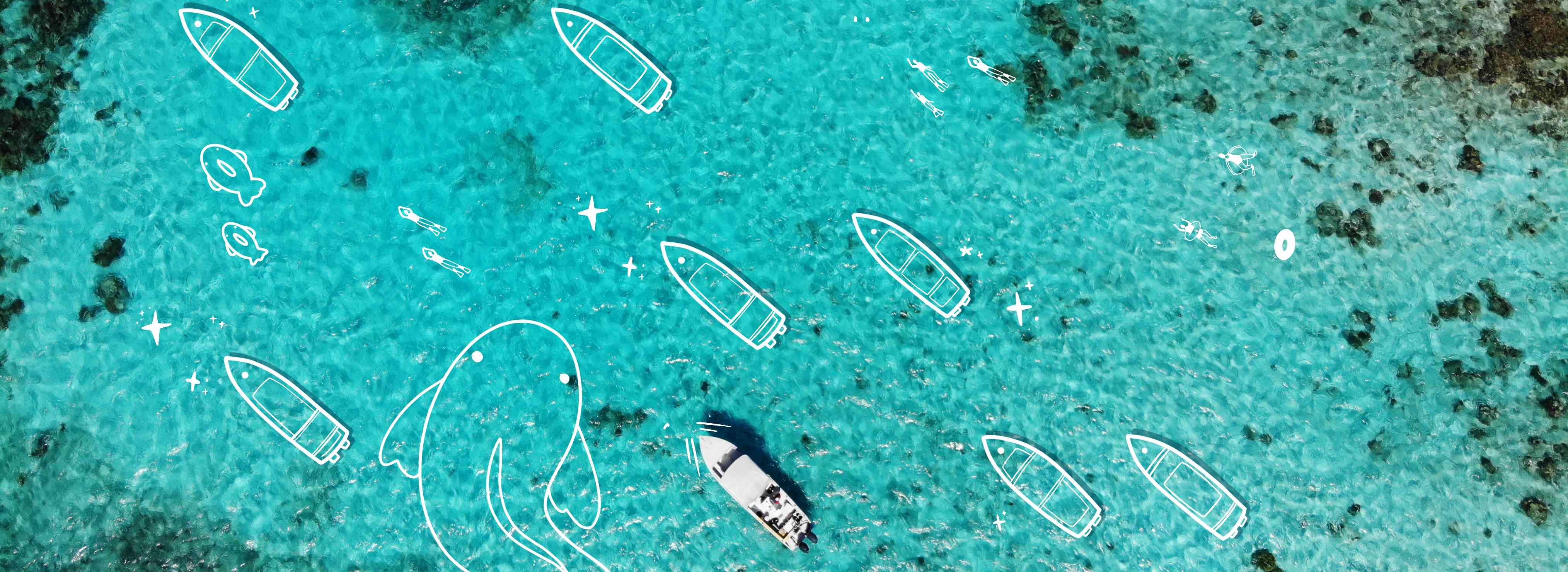 Bird's eye view of the ocean around Belize with illustrated boats and larger than life fish