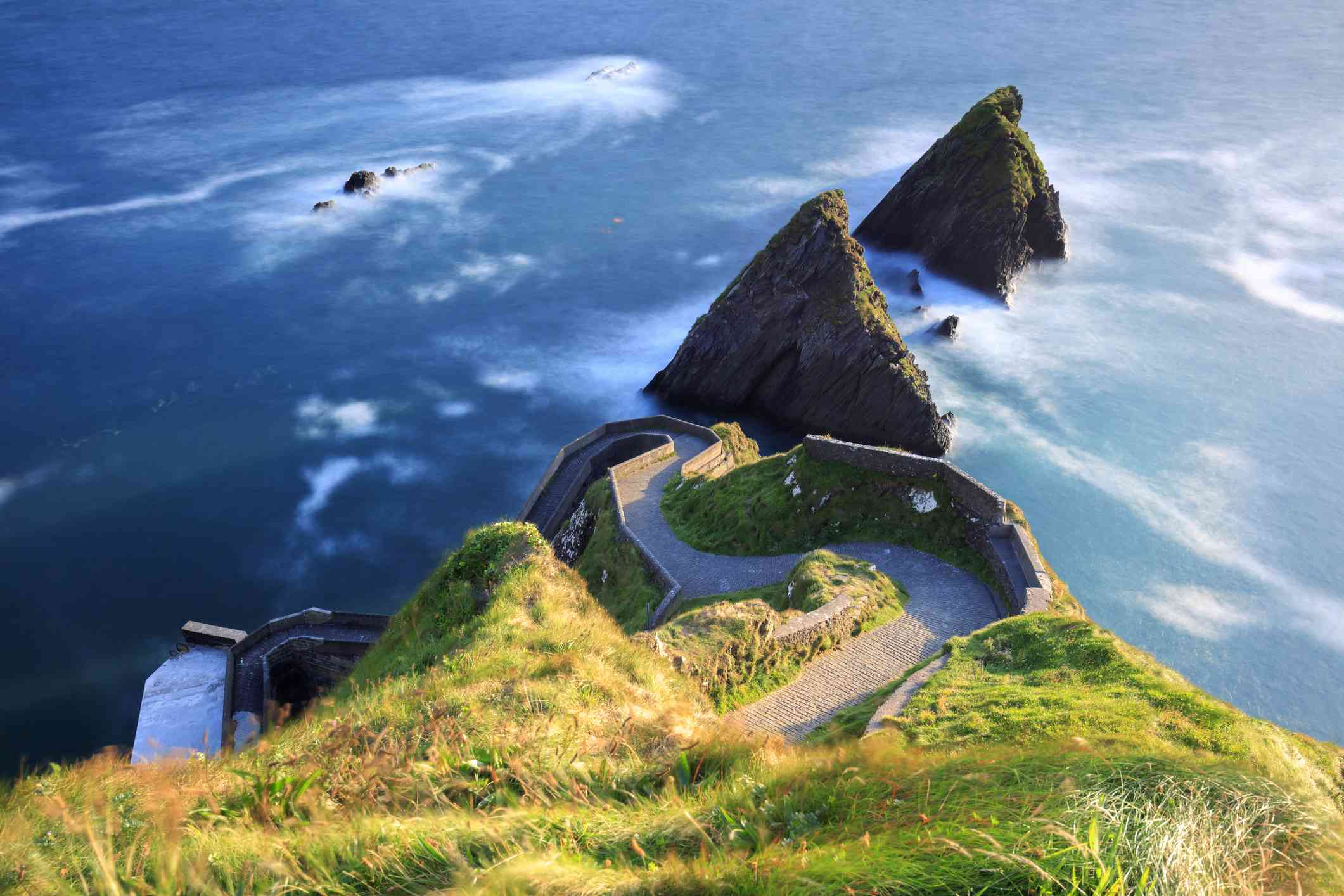 sea cliffs and winding path