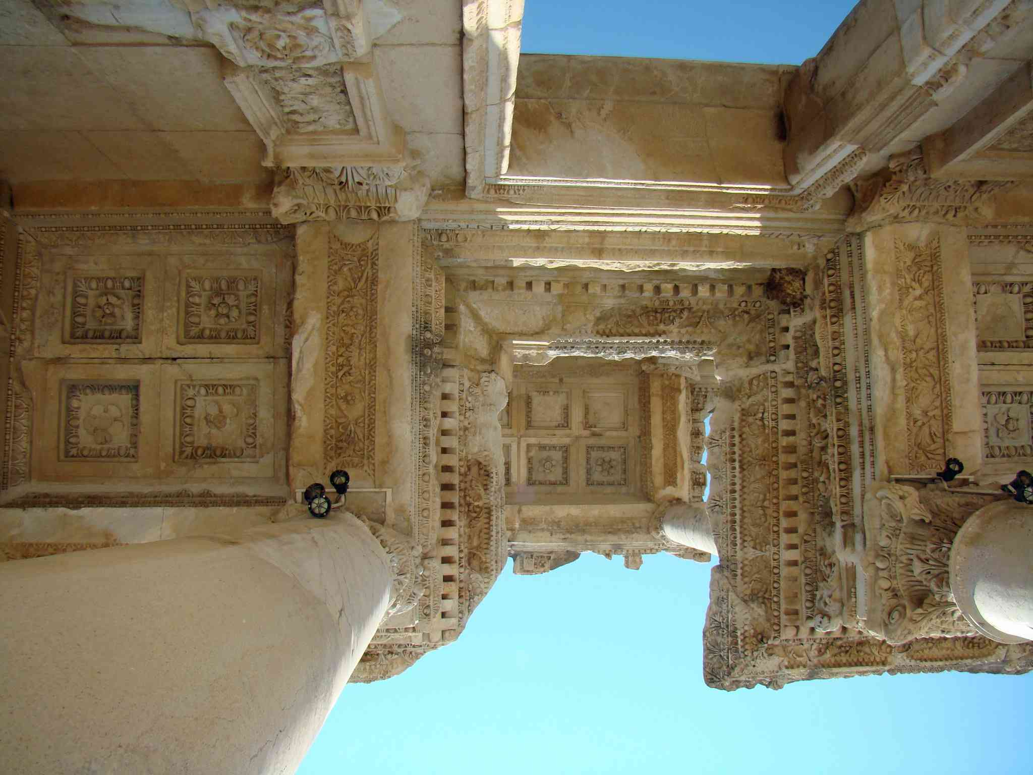View of the ceilings of ruins in Turkey