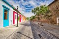 Oaxaca, Scenic old city streets and colorful colonial buildings in historic city center