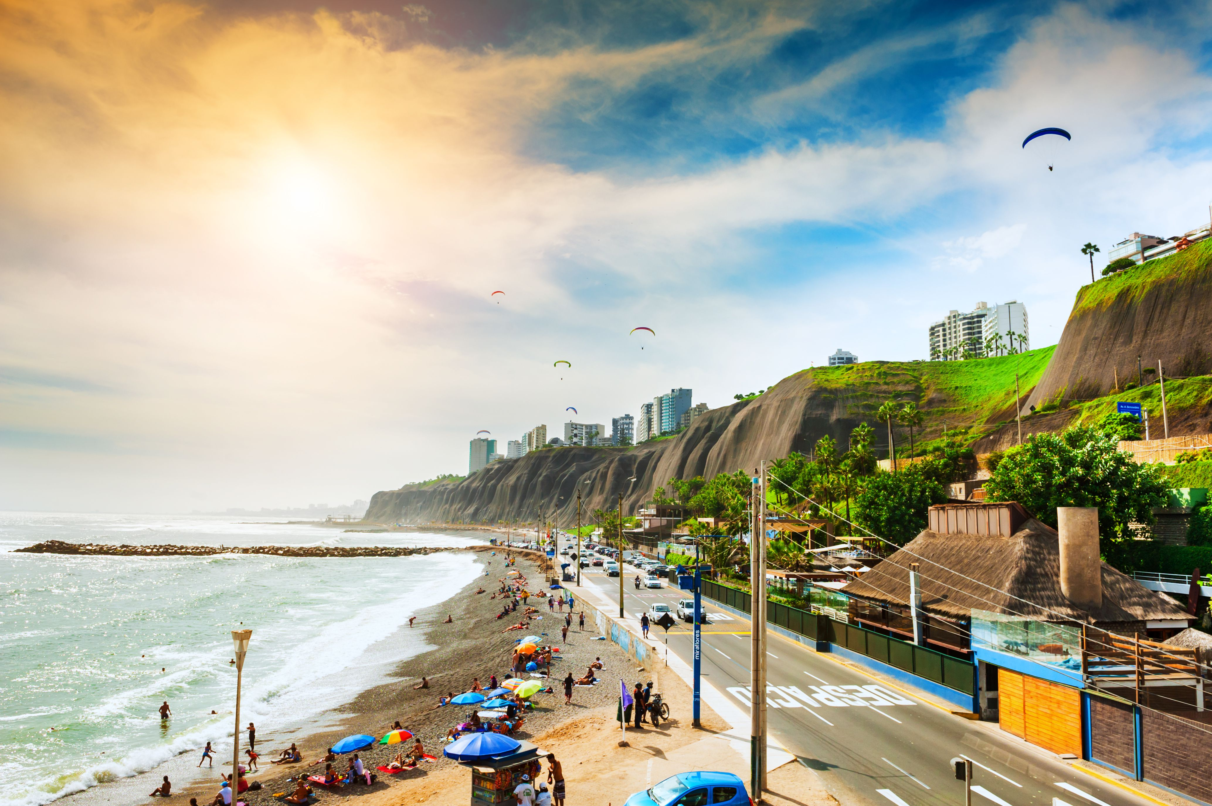 Beautiful coast of Pasific ocean in Miraflores district in Lima, Peru