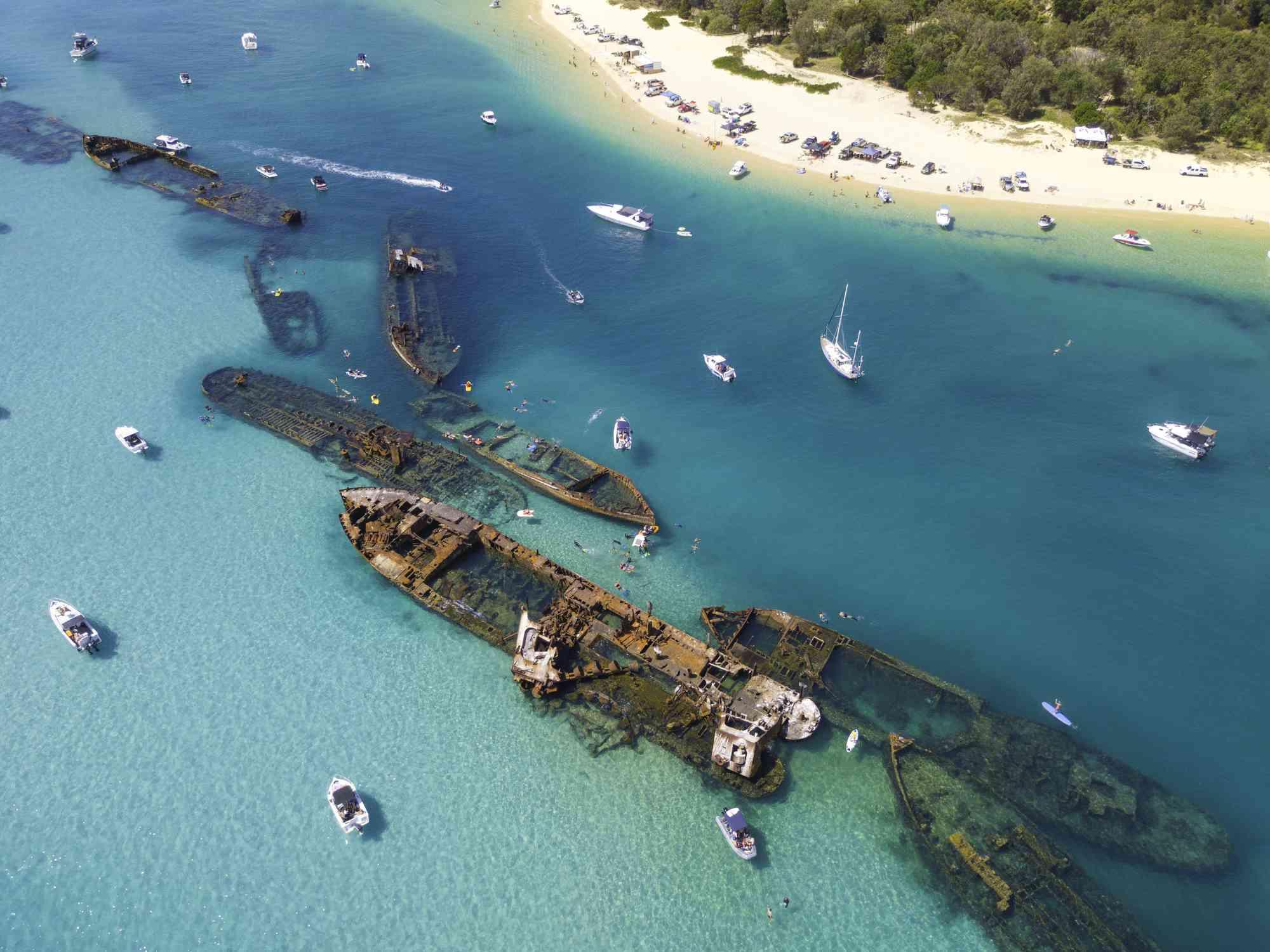 Aerial view of shipwrecks off the coast of Moreton Island