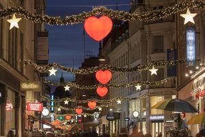 View of Strøget street during Christmas, Copenhagen, Denmark