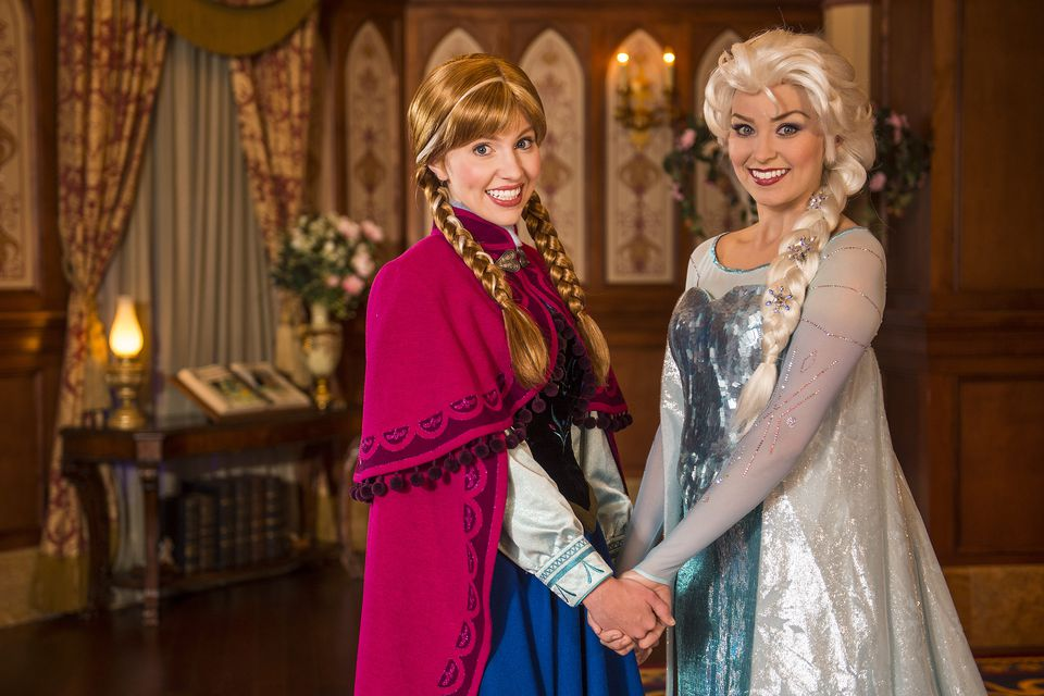 Top picks for princess fans at disney world anna and elsa pose at princess fairytale hall in disneys magic kingdom m4hsunfo
