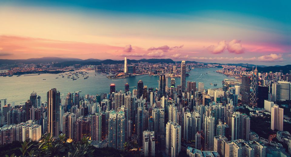 Sunset on the Hong Kong skyline in June